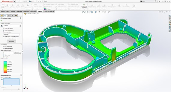 SOLIDWORKS Wall Thickness Analysis
