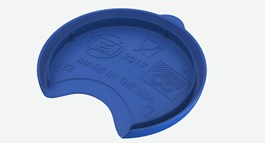 Text on a blue injection-molded part