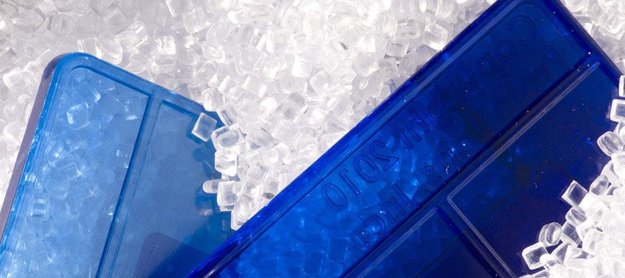 blue and clear thermoplastic resin