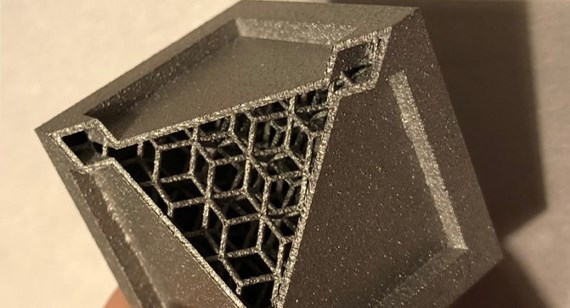 metal 3d-printed cube with lattice structures