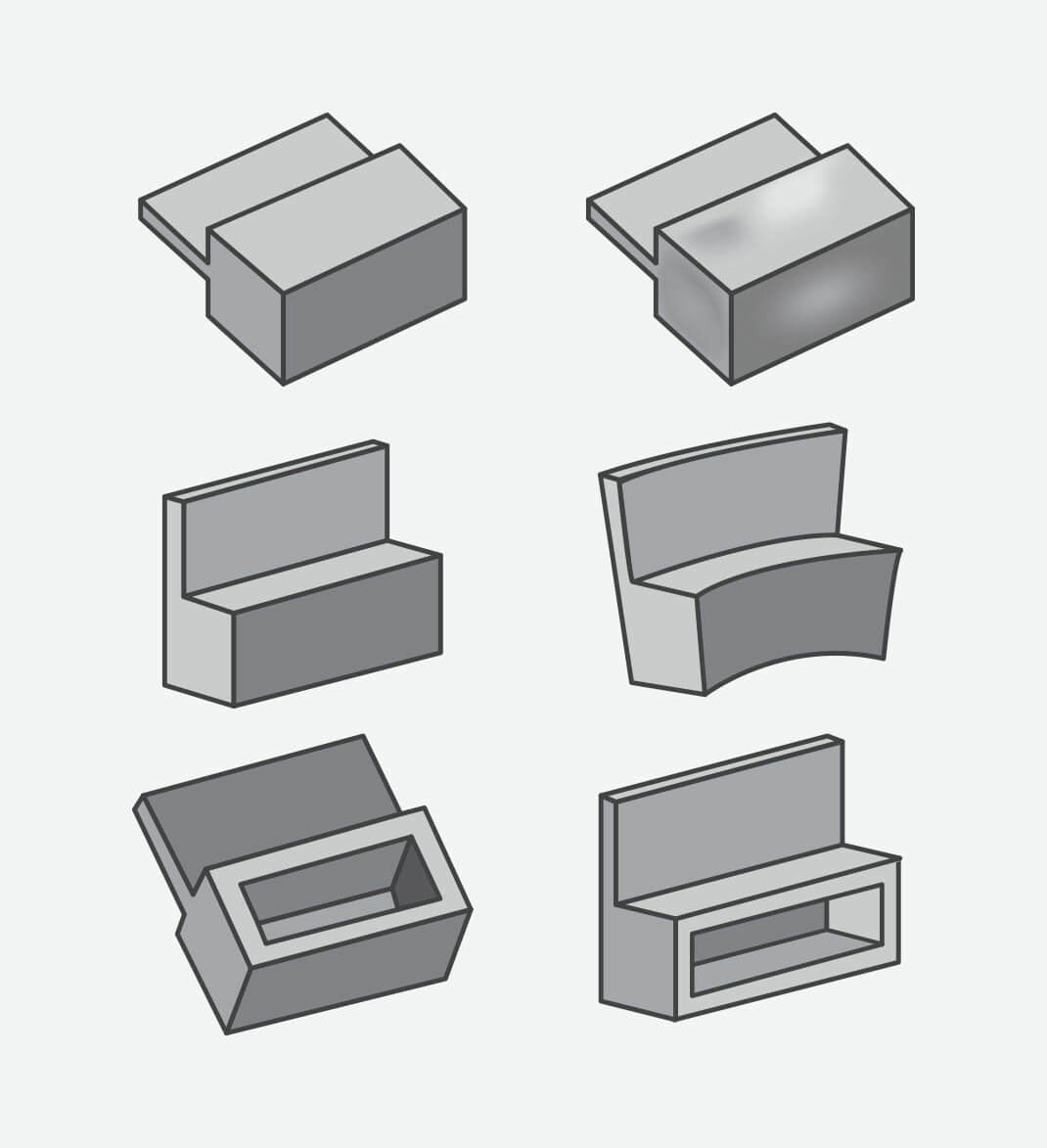 The top row represents a part designed with thick features and the resulting sink once molded. The middle row also shows a part designed with thick features, but this time the warp that occurs once molded. The bottom row demonstrates how coring out thick features helps create an optimally molded part.