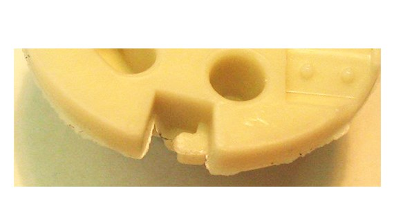 injection molded part with flash