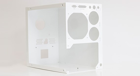 white sheet metal computer chassis