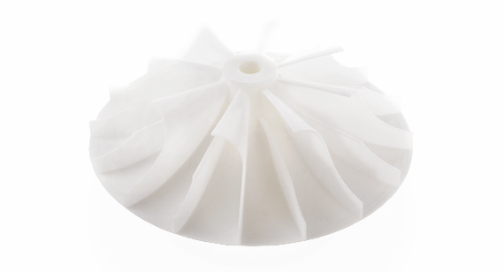 3D printed white impeller produced using Multi Jet Fusion