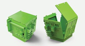 Protolabs green injection molded design cube
