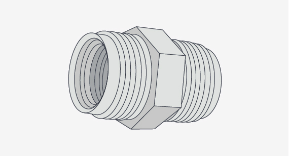 metal bolt part with threads similar to molded threads on plastic