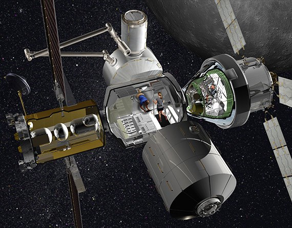 3D illustration graphic rendering of NASA Orion spaceship with a visual of the living quarters. Orion will launch astronauts back into lunar orbit and, eventually, to Mars. Lockheed Martin is designing, and Protolabs is manufacturing, parts of the infrastructure of these living quarters.