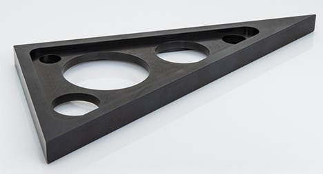 black anodize sheet metal part produced by protolabs