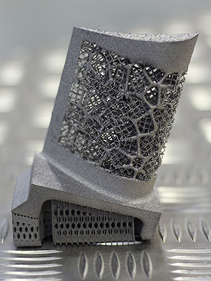 Fully-dense metal test components were built on the University's Arcam Q20+ industrial-grade 3D printing machine. Photo Courtesy: The University of Sheffield.