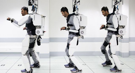A paralyzed man was able to walk with the help of an exoskeleton and ceiling-attached harness using brain-controlled sensors. Photo Courtesy: mashable.com