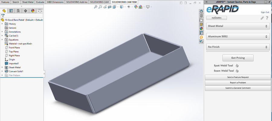 Simplifying The Sheet Metal Quoting Process With Erapid