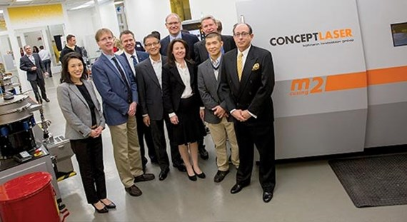 Arizona State University, Concept Laser, Honeywell Aerospace, Phoneix Analysis and Design Technologies paused for a partnership photo